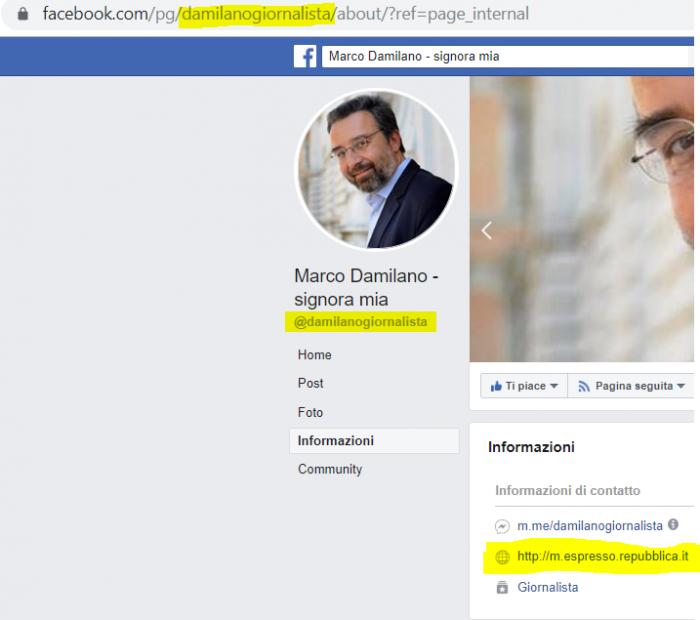 Permalink nome utente info contatto pagina fake Facebook Marco Damilano