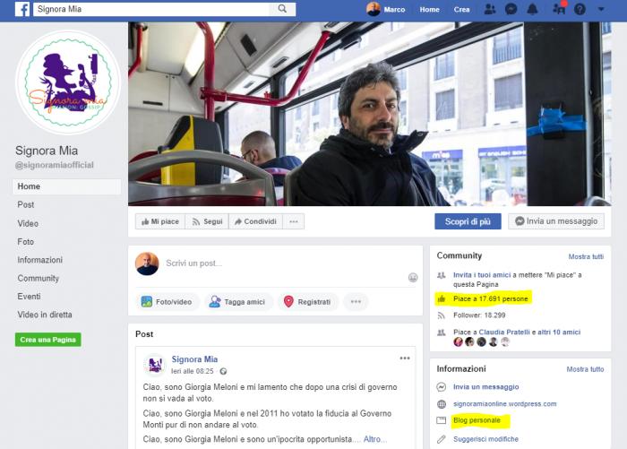 Signora mia pagina Facebook fake