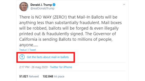 Tweet Trump su California
