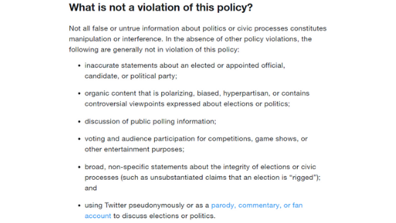 Civic Integrity Policy Twitter